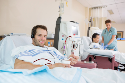 man having a dialysis treatment